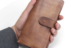 Cool Vintage Mens long leather wallet men bifold long wallets for men