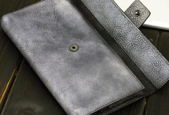 Vintage cool mens long leather wallet men bifold long wallet for him
