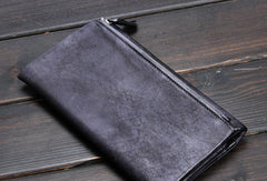 Handmade men long leather wallet men bifold vintage gray long wallet for him