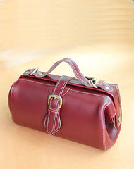 Womens Red Leather Doctor Handbag Purses Vintage Doctor Crossbody Purses for Women