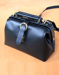 Womens Black Leather Doctor Handbags Shoulder Purse Vintage Black Doctor Purses for Women