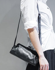 Fashion Womens Black Leather Long Doctor Shoulder Purse Black Doctor Crossbody Purses for Women