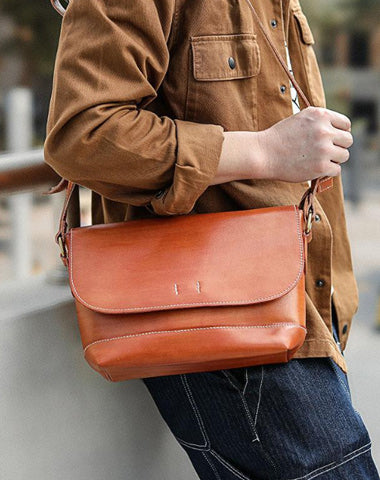 Casual Small Leather Mens Black Side Bag Brown Postman Bag Messenger Bag For Men