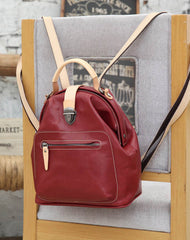 Fashion Handmade Womens Red Leather Backpack Satchel Bag Red School Backpack for Women