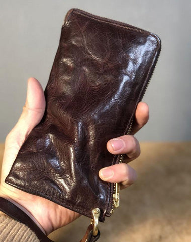 Handmade Genuine Leather Mens Cool Biker Chain Wallet Long Leather Wallet Slim Clutch Wristlet Wallet for Men