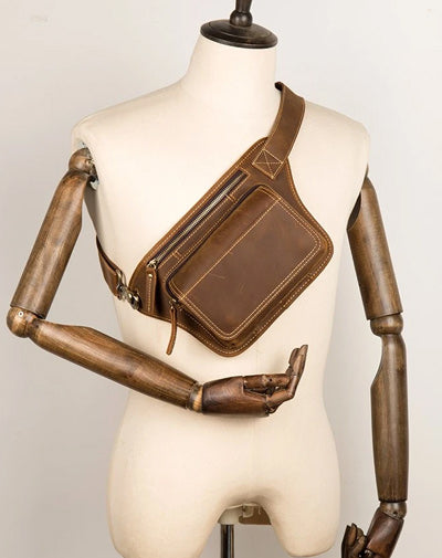 Cool Brown Leather Fanny Pack Mens Waist Bags Hip Pack Belt Bag Bumbags for Men