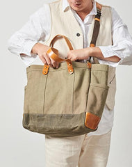 Canvas Leather Mens 14 inches Green Tote Messenger Bags Canvas Handbag Canvas Shoulder Tote for Men Women