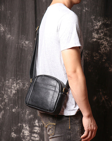 Men's Black Leather Small Messenger Bag Small Side Bag Black Courier Bag For Men