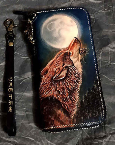 Badass Black Leather Men's Long Biker Wallet Wolf Handmade Tooled Zipper Long Wallets For Men