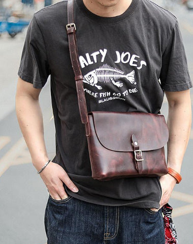 Black Leather Mens Casual Small Postman Bag Courier Bags Coffee Messenger Bag For Men