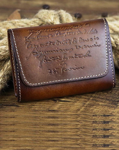 Vintage Women Men Leather Card Wallet Coin Purse Organ Coin Pouch Change Holder for Men and Women