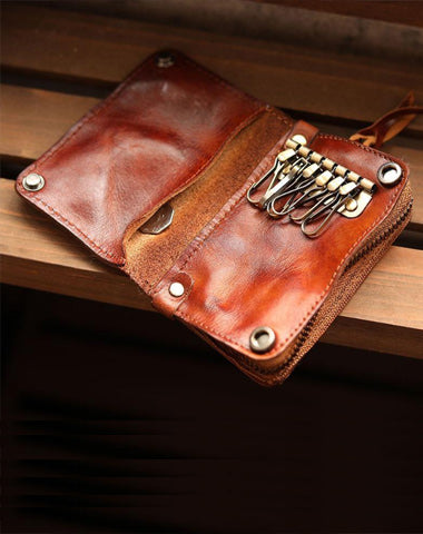 Cool Black Leather Mens billfold Key Wallet Bifold Brown Small Key Wallet Key Holder For Men
