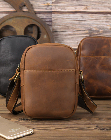 Black LEATHER MEN'S Small Side bag Brown Vertical Phone Bag MESSENGER BAG Courier Bag FOR MEN