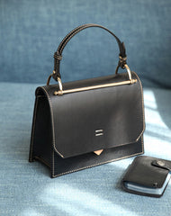 Fashion Womens Black Leather Flap Over Handbag Purse Handmade Square Crossbody Bag Shoulder Bag Purse