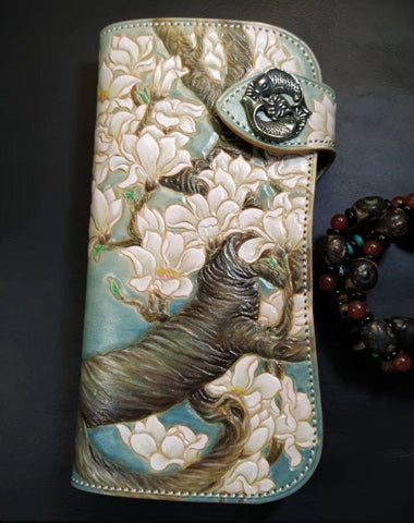 Blue Leather Womens Cherry Blossom Tree Biker Wallet Handmade Tooled Zipper Long Wallets For Men