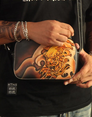 Cool Handmade Chinese Lion Tooled Leather Small Postman Bag Messenger Bag Courier Bag For Men
