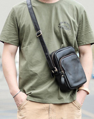 Casual Small Leather Mens Black Side Bags Small Vertical Postman Bag Messenger Bags For Men