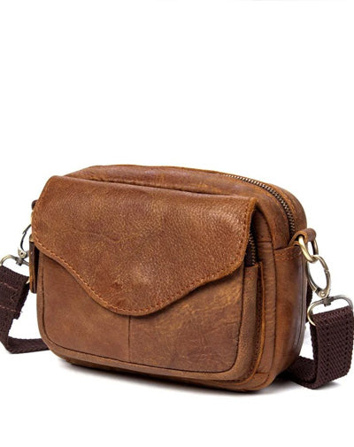 Brown Mens Leather Belt Pouch Small Messenger Bag Waist Bag Belt Bag for Men