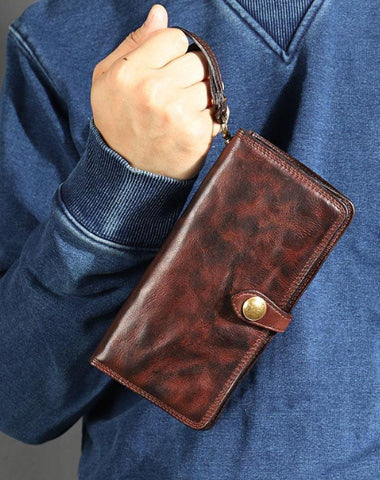 Leather Mens Cool Vintage Wallet Bifold Long Leather Biker Wallet Black Clutch Wristlet Wallet for Men