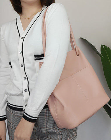 Fashion Womens Pink Leather Tote Bag Vertical Silver Shoulder Tote Bag Bucket Tote For Women