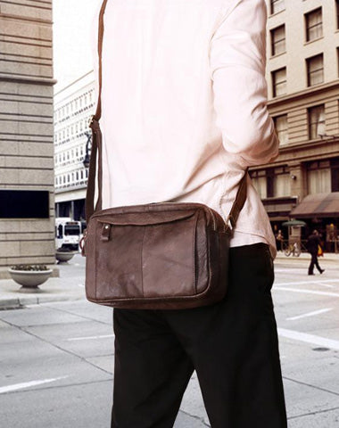 Badass Dark Brown Leather Men's 8 inches Small Courier Bag Brown Messenger Bag Postman Bag For Men