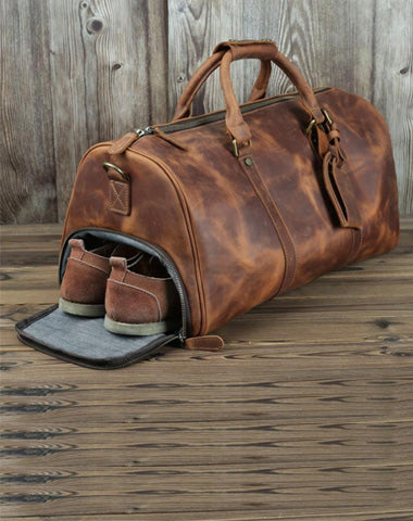 Casual Brown Leather Men's 15 inches Overnight Bag Travel Bag Luggage Weekender Bag For Men