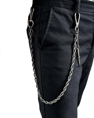 25'' Metal HUNTER SWORD BIKER SILVER WALLET CHAIN LONG PANTS CHAIN SILVER jeans chain jean chain FOR MEN