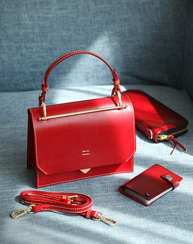Fashion Womens Red Leather Flap Over Handbag Purse Handmade Square Crossbody Bag Shoulder Bag Purse