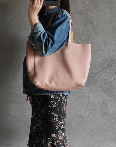 Fashion Womens Pink Leather Oversize Tote Bag Pink Shoulder Tote Bag Pink Handbag Tote For Women