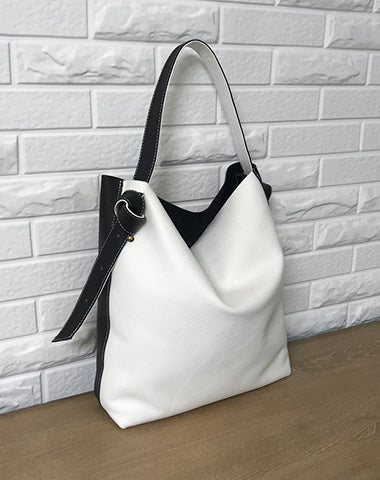 Stylish White Black Leather Tote Bag Shoulder Tote Bag Crossbody Tote Purse For Women