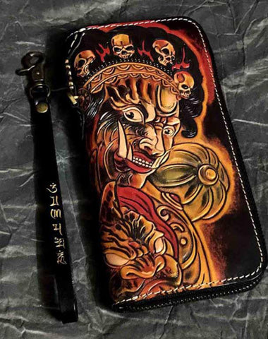 Badass Handmade Black Leather Men's Biker Long Wallet Mahākāla Tooled Zipper Long Chain Wallets For Men