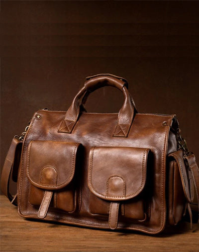 Cool Brown Leather Mens 14 inches Laptop Briefcase Black Business Side Bag Work Bag for Men