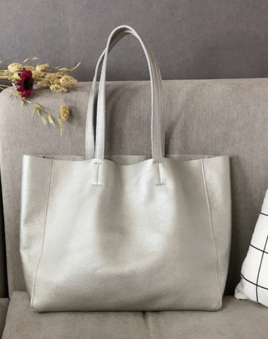 Fashion Womens Silver Leather Tote Bags Silver Shoulder Tote Bags Handbags Tote For Women
