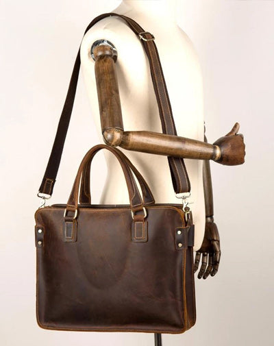 Vintage Brown Leather Mens 14 inches Briefcase Laptop Briefcase Business Bags Work Bags for Men