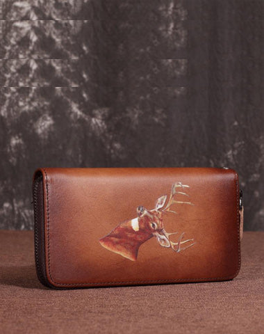 Brown Vintage Deer Wallet Leather Mens Womens Gray Long Wallet Zipper Clutch Wallet For Men