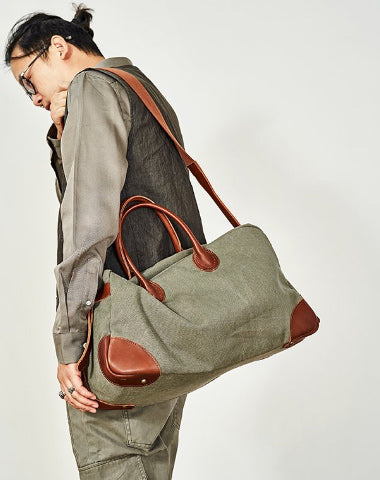 Vintage Mens Green Leather Canvas Large Weekender Bag Canvas Travel Shoulder Bag Large Duffle Bags for Men