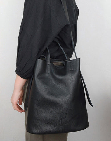 Stylish Black Leather Tote Bag Shoulder Tote Handbag Black Crossbody Tote Purse For Women