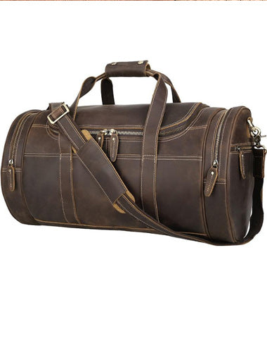 Casual Brown Leather Barrel ound Men's Large Overnight Bag Travel Bag Luggage Weekender Bag For Men