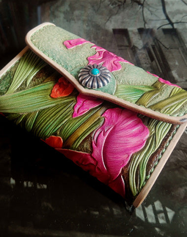 Handmade Green Womens tooled Leather Iris Flower Change Wallet Card Wallet Coin Holder for Women