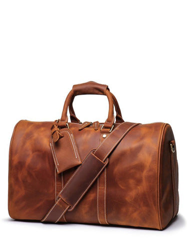 Cool Leather Mens 15-inch Brown Large Weekender Bag Black Vintage Travel Bag Duffle Bag for Men