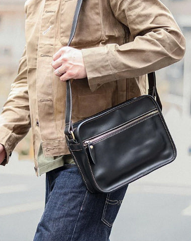 Black Leather Mens Casual Small Courier Bags Messenger Bag Coffee Brown Postman Bag For Men