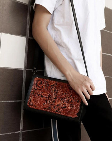 Handmade Black Tooled Floral Leather Messenger Bags Side Bag Clutch Wristlet Bag For Men