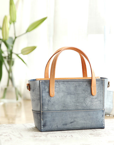 Vintage Womens Blue Leather Handbag Tote Purse Tote Handmade Shopper Side Tote Bag for Men