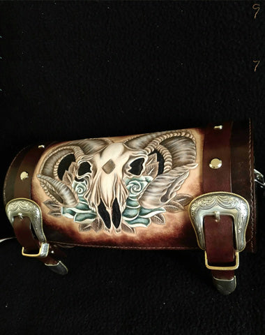Cool Handmade RAM Skull Tooled Leather Mens Biker Saddle Bag Biker Barrel Side Bag Messenger Bag For Men
