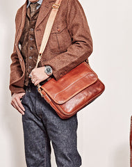 Casual Black Leather Mens Messenger Bag Side Bag Leather Brown Courier Bag For Men