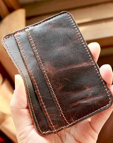 Brown Slim Leather Mens Card Wallet Small Card Holder Front Pocket Wallet For Men