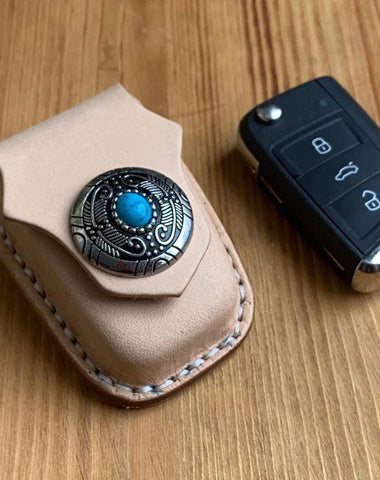 Handmade Beige Leather Mens Volkswagen Golf Car Key Case Car Key Holder with Belt Loop/Belt Clip