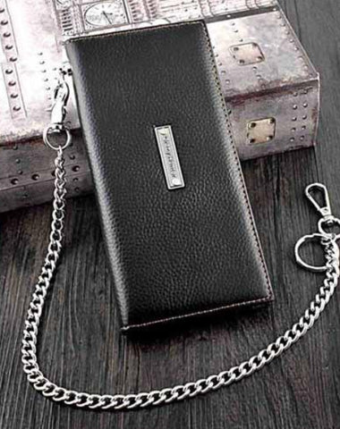 Badass Black Leather Men's Punk Long Biker Chain Wallet Cool Black Bifold Long Wallets with Chain For Men