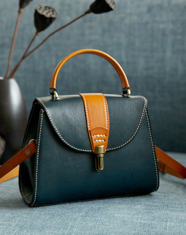 Handmade Women's Blue Leather Handbags Purse Vintage Small Handbag Shoulder Bag Purse