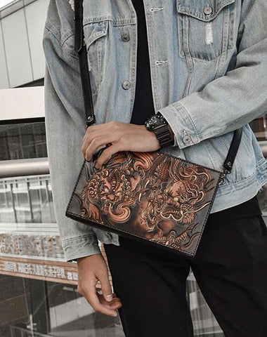 Handmade Black Tooled Lion Dragon Leather Messenger Bags Side Bag Clutch Wristlet Bag For Men